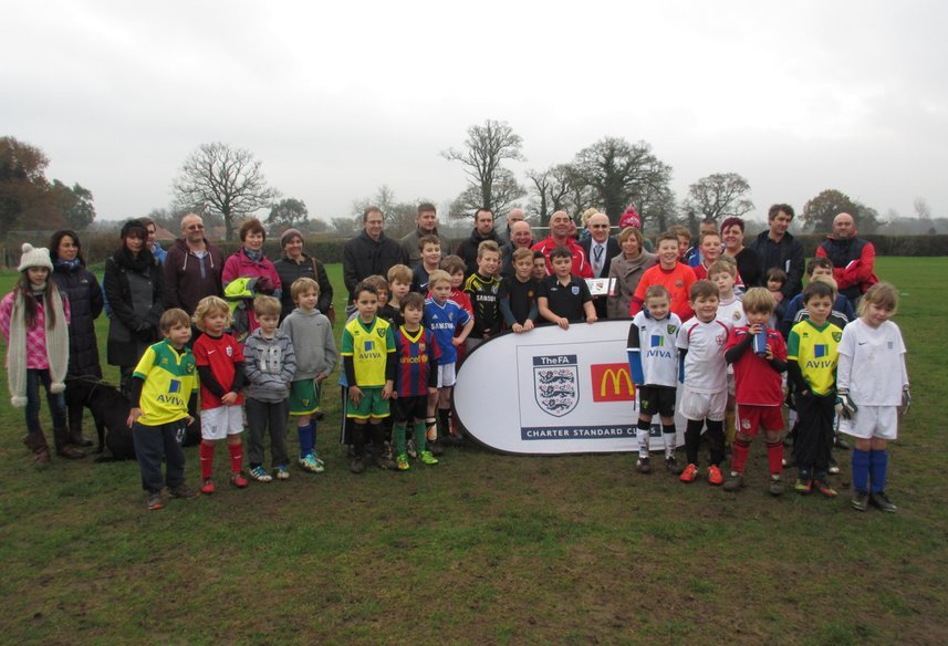 Holt United Youth FC celebrating the FA Chartered Standard